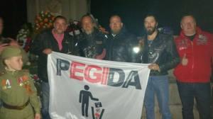 Gestern in Torgau: Die Nachtwölfe mit PEGIDA-Gründer Lutz Bachmann. Foto: PEGIDA/Facebook